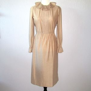 Vintage Long Sleeve Beige Nude Dress Ruffle